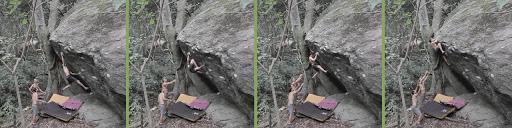 foto-sequência da escalada da via Totoro